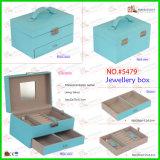 De blauwe Hete Verkoop weerspiegelde de Vierkante Verpakkende Doos van de Juwelen van het Leer van de Douane
