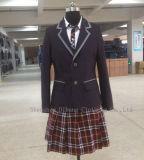 赤紫の格子縞の中学校のユニフォームのスーツ