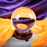 Esfera de la bola grande de cristal con base de madera Fengshui la decoración del hogar