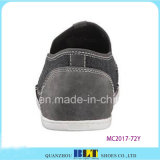 Doubles chaussures en cuir de couture de couleur grise