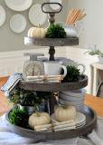 Kdのぼろぼろのシックで旧式な白2はホーム装飾、ケーキの立場のための木の皿の棚を疲れさせた