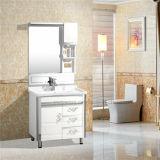 PVC semplice Bathroom Cabinet con Silver Mirror e Side Cabinet