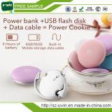 1000mAh Banco de la energía de la galleta con el disco flash USB