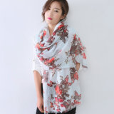 Senhora Impresso Floral Moda lenço de seda de algodão (YKY1144)