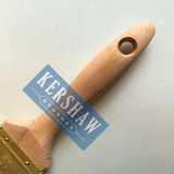 Brosse à peinture (pinceau, brosse plate à poils blancs avec manche en bois de hêtre)
