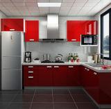Gabinete de cozinha de madeira do lustro elevado para as cozinhas Home