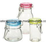 Großhandelsglasglas-Nahrungsmittelspeicher mit hölzerner Kappe und Griff