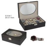 Caixa de relógio de luxo em couro clássico Assista a caixa com 10 slots