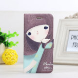 iPhone 6のための美しいCute Silk Print Cartoon Leather Case