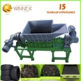 기계장치를 재생하는 신선한 녹색 두 배 샤프트 슈레더 낭비 쓰레기