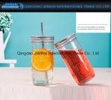 choc potable de fruit en verre de la bouteille d'eau 600ml avec la paille, couvercle en métal