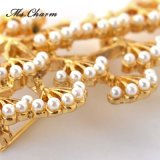 Brooch di Pin dell'albero della perla placcato oro grande per le donne