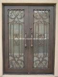 熱い販売の正方形の上のハンドメイドの錬鉄の前ドア