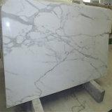Weiße Calacatta Marmor-abgezogene und Mikro-Abgeschrägte Fliese zurechtschneiden