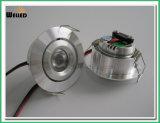 부엌, 옷장 또는 책장 점화를 위한 내각 빛의 밑에 3W 크리 말 둥근 LED