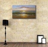 Peinture d'onde de mer dans le coucher du soleil