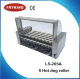 Ce keurde Machine de Van uitstekende kwaliteit van de Grill van de Rol van de Hotdog van 5 Rollen goed