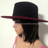 Form-gefälschter Wolle-Kontrast-Farbefedora-Hut