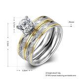 Mode double anneau en acier rond en titane de zircon bague de doigt plaqué or de conception pour les femmes