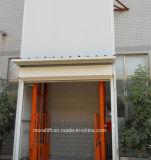 Elevador de frete vertical hidráulico do trilho de guia com a porta