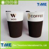 Tasse en céramique avec couvercle en silicone, tasse de café sans poignée (082705)
