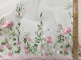 Tecido de renda bordado de flores para roupas de menina
