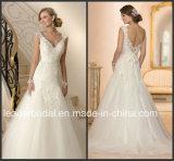 Schutzkappe Sleeves Brauthochzeits-Kleid Vestidos Spitze-Hochzeits-Kleid L15353
