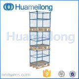Empilhamento de armazenamento de malha de arame com gavetas de paletes com paletes de madeira