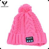 Картина кабеля шлема Knit Bluetooth зимы девушок способа теплая
