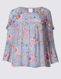 Blusa floral da luva do plissado 3/4 da cópia