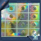 Escritura de la etiqueta de encargo del holograma del efecto del arco iris de la insignia
