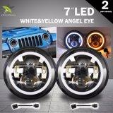 공장 호박색 천사 눈 DRL 40W 20W 고/저 광속 지프 모는 빛을%s 7 인치 둥근 LED 헤드라이트