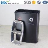 Indoor Public deux compartiments en acier inoxydable de la litière de la corbeille de recyclage