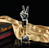 La parte superior de música de calidad de voz voces Premio micrófono de la copa de cristal trofeos cantando recuerdos artesanales