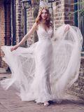 Кружевной свадебные платья вышитого тюля на пляже без рукавов устраивающих платье H131012