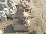 Scultura del cane di Foo intagliata mano di pietra naturale Polished buona del commercio all'ingrosso della statua del leone