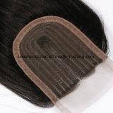 Los encajes de seda cabello indio virgen de la pieza central de cierre 3.5*4