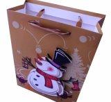 Bolsa de papel de la maneta del regalo de la promoción de la Navidad para las compras