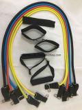 la cuerda de tirón de la yoga 11PCS Pilates con el plástico maneja exercizers del entrenamiento de la fuerza del entrenamiento de la aptitud del látex de las vendas de la resistencia