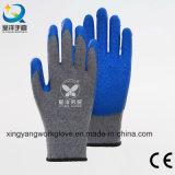 Перчатки серой безопасности латекса вкладыша хлопка голубой Coated работая (L008)