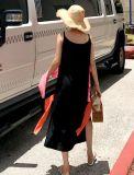 Il nero Sleeveless A - riga pannello esterno del vestito dall'imbracatura di modo con merletto