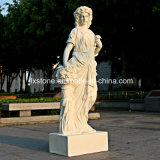 Statues de marbre beiges de femme de jardin pendant des saisons