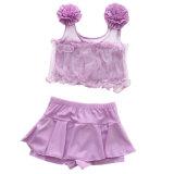 Girl Lace saia do Grupo de flores de cores puras crianças Swimsuit 3-12 Anos calções de banho