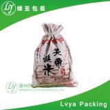 Promozionale all'ingrosso fatto del sacchetto naturale del riso del cotone della tela di canapa di 100%, sacchetto del frumento con il Drawstring