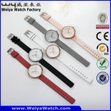 OEM/ODM lederne Brücke-Quarz-Frauen-kundenspezifische Uhr (Wy-091A)
