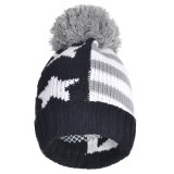 Зимние теплые шапки POM Poms трикотажные акриловые полосатый Red Hat