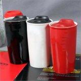 12oz 15ozの二重層のふたが付いている陶磁器の磁器のコーヒーカップ