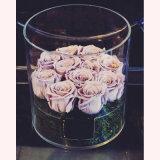 Rectángulo de acrílico redondo de la flor de la visualización transparente clara de 21 Rose con las tapas