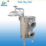 高い流れの縦の開始水液体オイルの環境のための多重ステンレス鋼のバッグフィルタハウジング