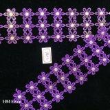 tela do laço do bordado de 7.5cm com três linhas flores roxas para os acessórios de roupa Hme896